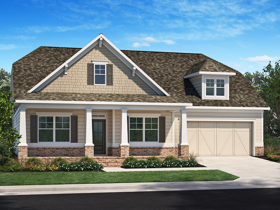 View The Emerson new 1.5-story ranch home plans available at the Encore active adult 55+ community in Kennesaw, GA featuring 3 bedrooms, owner's suite in the back, an open kitchen to the large great room, a study, bonus room and attic plus optional sunroom and screened porch.